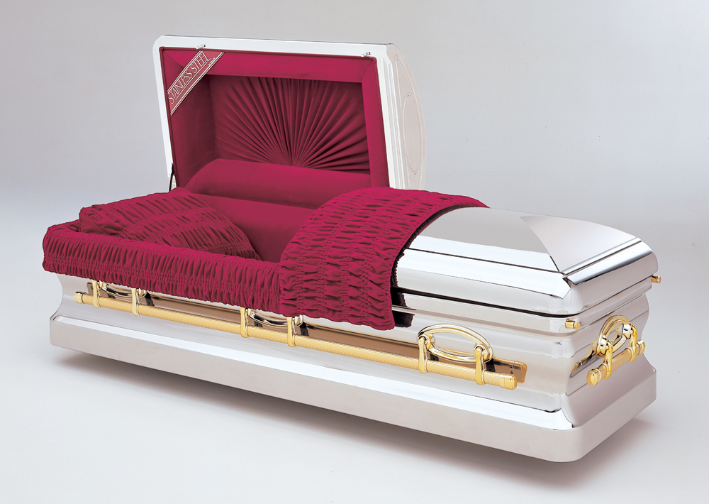 Stainless steel caskets funeral home in oakland for Black casket with red interior